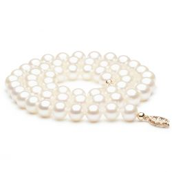Collier perles blanches fermoir or jaune