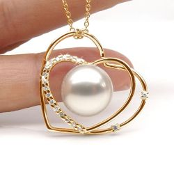 Pendentif or jaune perle Australie diamant coeur