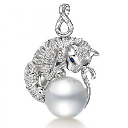 Pendentif chat perle d'Australie or blanc diamant