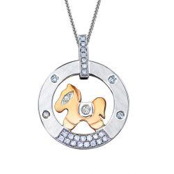 Pendentif cheval or blanc et rose. Diamants