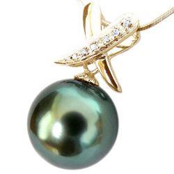 pendentif superbe en perle de tahiti or jaune et diamant