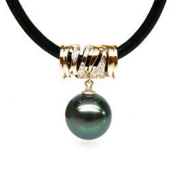 Pendentif cuir cordon perle de Tahiti
