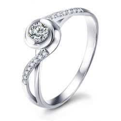 Bague de fiancailles or blanc diamants