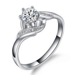 Bague solitaire diamant entrelacé