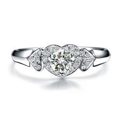 Bague solitaire diamants 3 coeurs